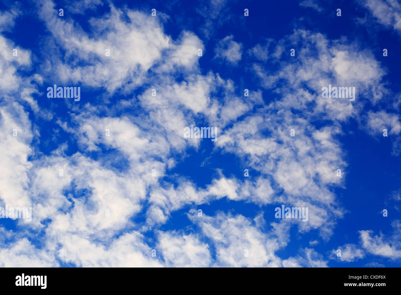 Scattered clouds directly overhead. - Stock Image