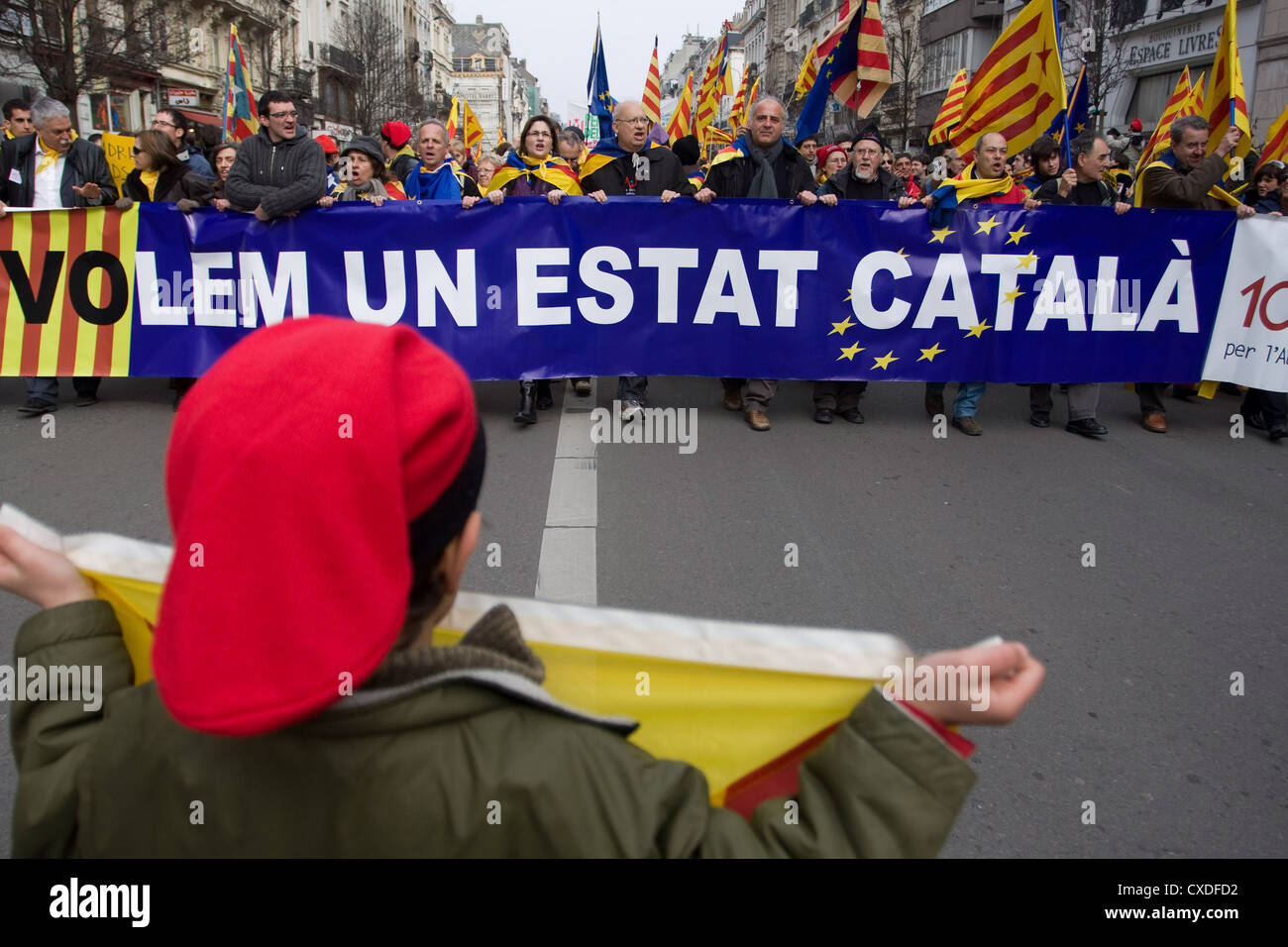 Catalonian nationalists demonstration for the independence - Stock Image
