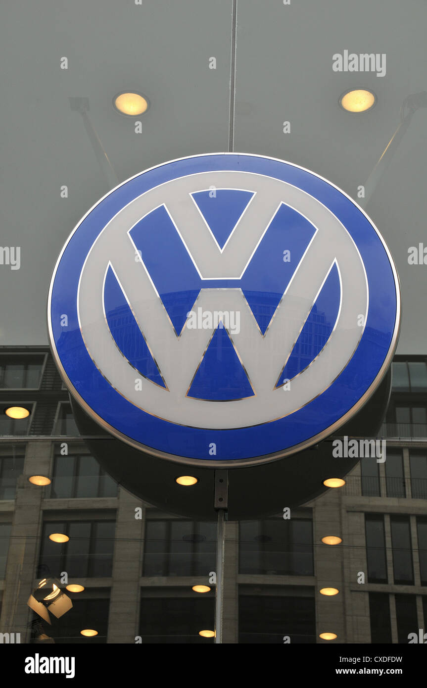 Volkswagen logo Berlin Germany - Stock Image