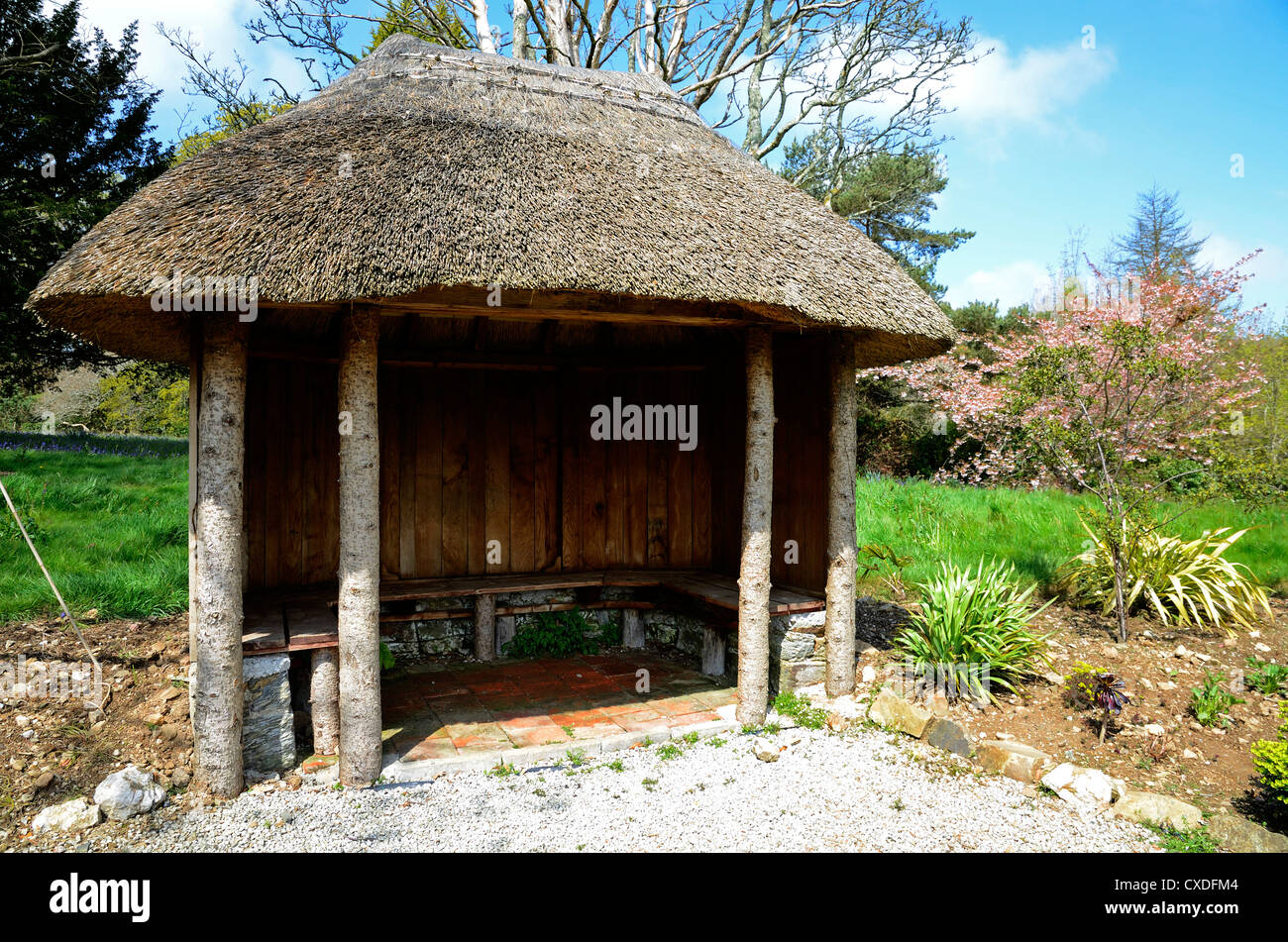 The summer house at Enys gardens near Falmouth in Cornwall, UK - Stock Image