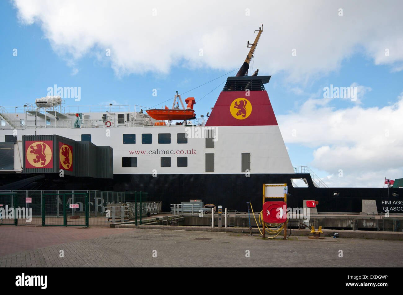 The Caledonian Macbrain Car and Passenger Ferry Finlaggan Glagow Docked In Oban Argyll and Bute Scotland Stock Photo