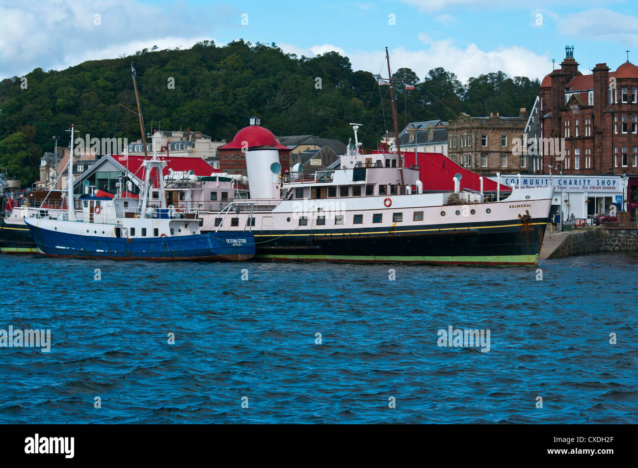 Boats Moored at The North Pier Oban Argyll and Bute Scotland Including The Passenger Ship Balmoral - Stock Image