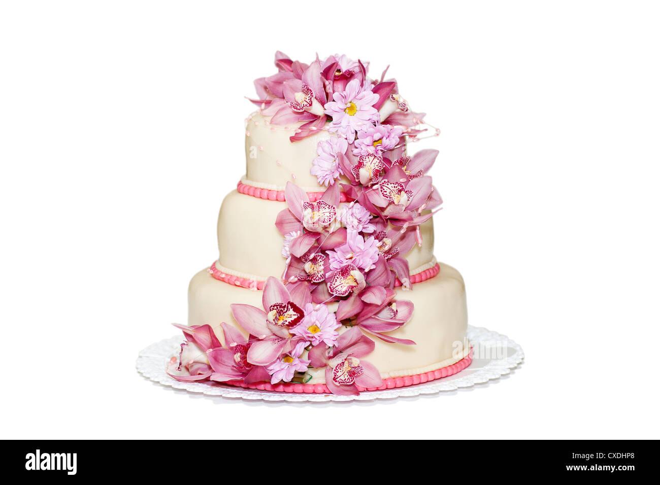 Traditional Wedding Cake On A White Background Stock Photo 50701120
