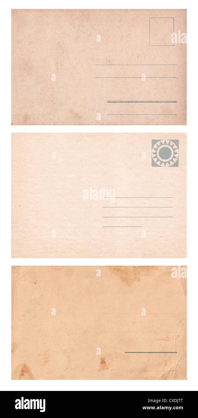 Set of three empty postcards isolated on white. - Stock Image