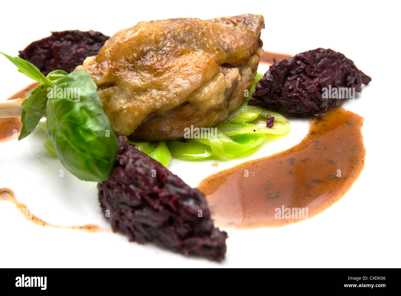 fried chicken isolated on white - Stock Image