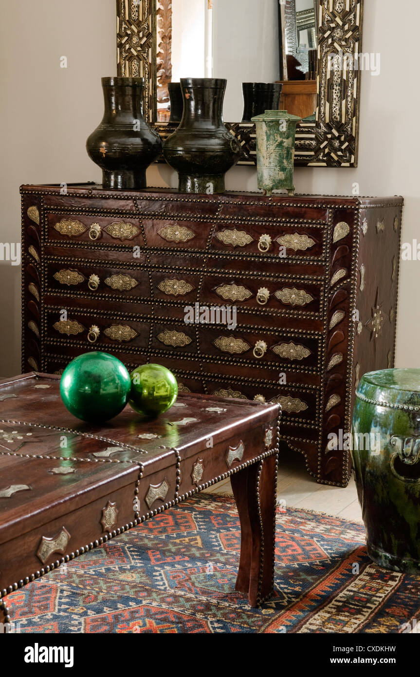 Moroccan Leather Studded Coffee Table Chest Of Drwers And Bone - Studded coffee table