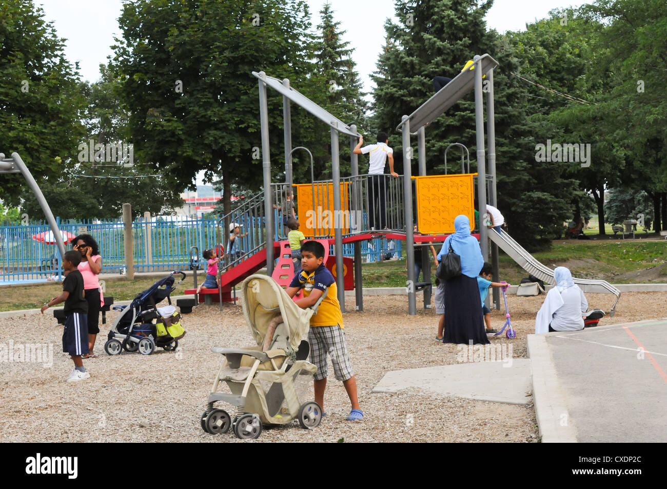 Jarry park in Montreal is very popular with new immigrants because of it's easy access and location, Quebec - Stock Image