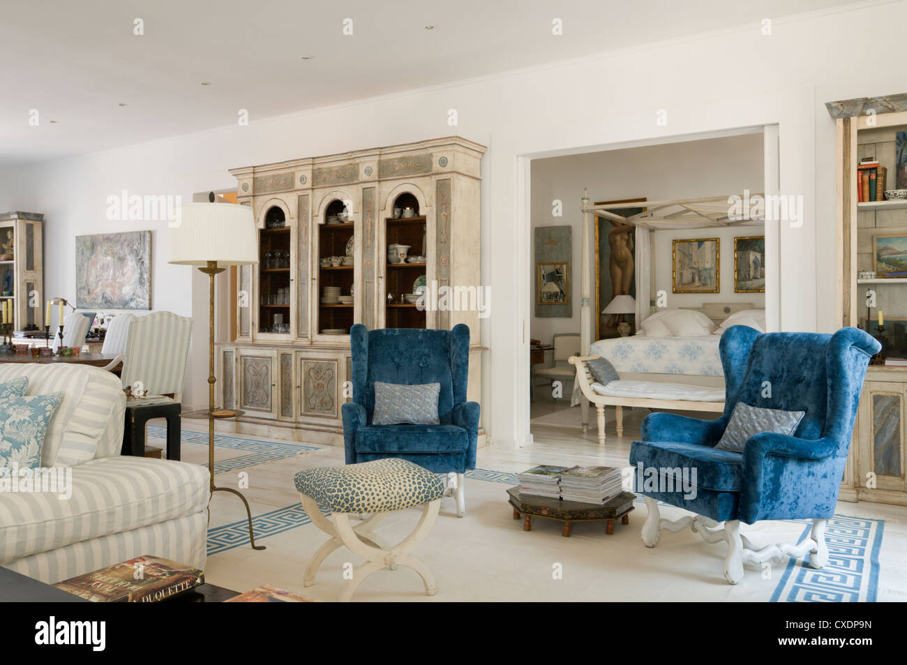 colonial living room with blue chairs in Mallorca Stock Photo ...