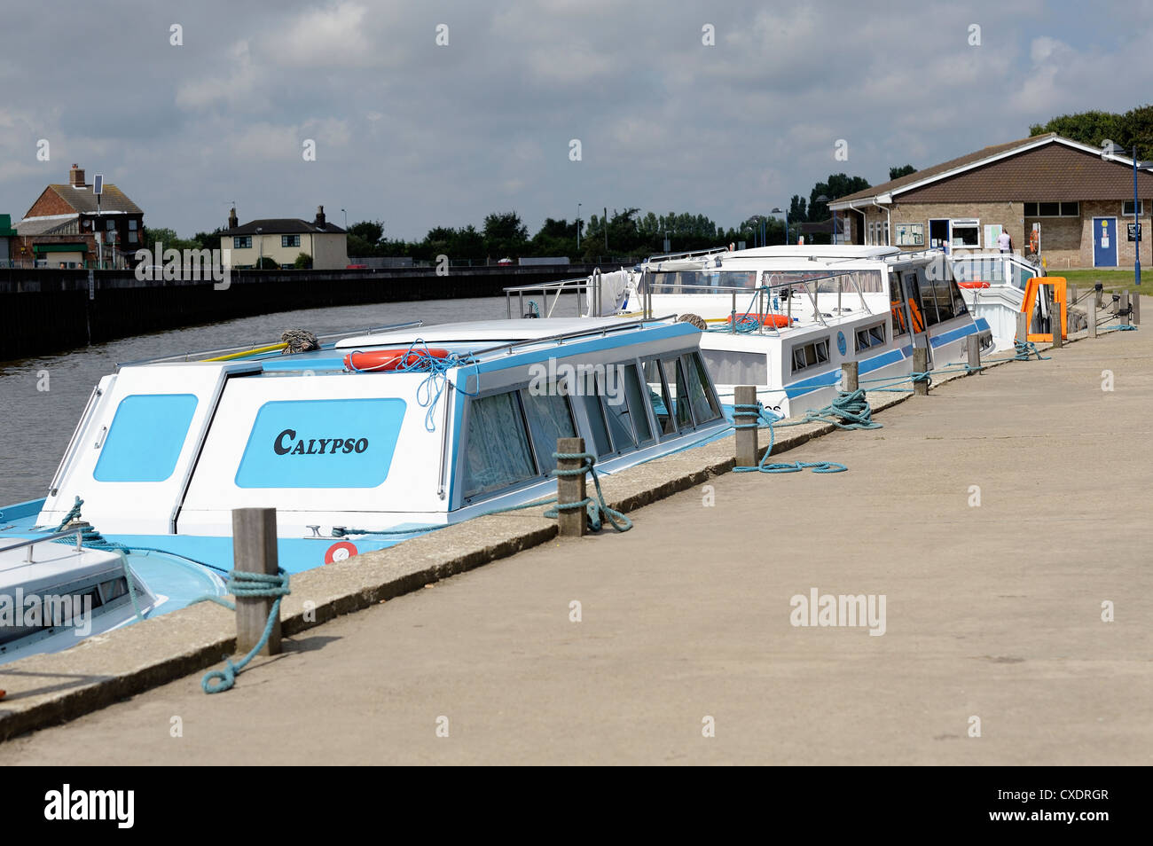 leisure cruising boats moored up in great yarmouth yacht station norfolk england uk - Stock Image