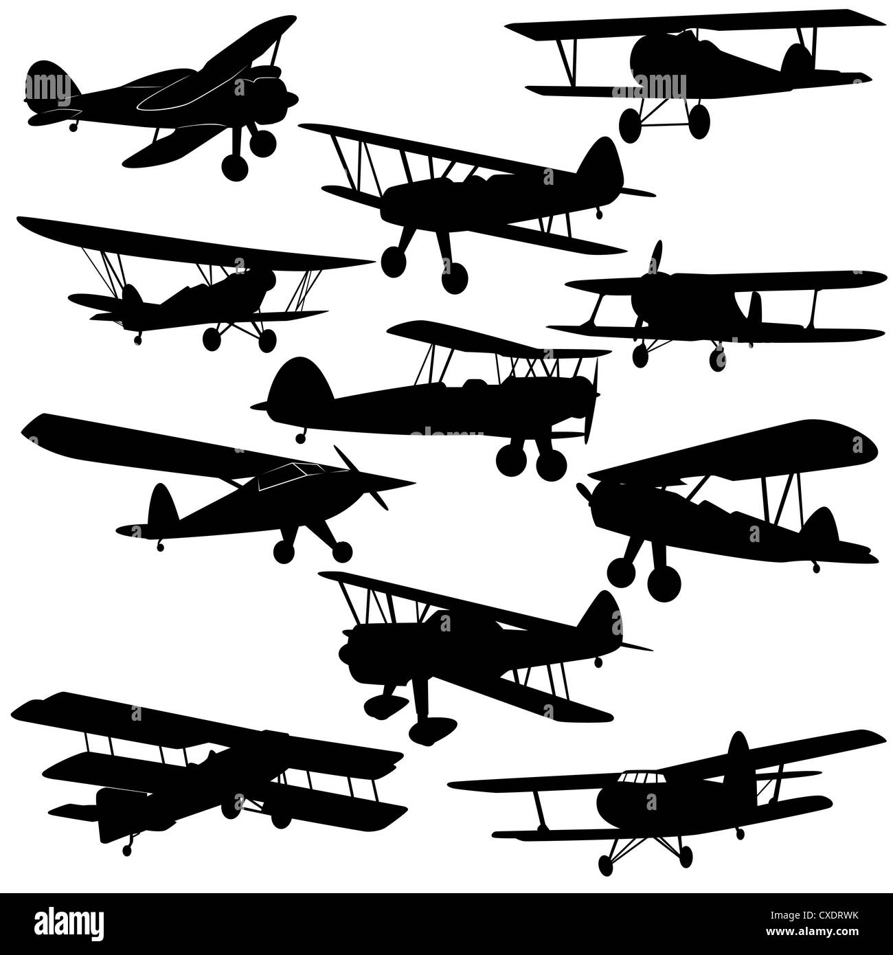 The contours of old aircraft and airplanes. Illustration on white background. - Stock Image