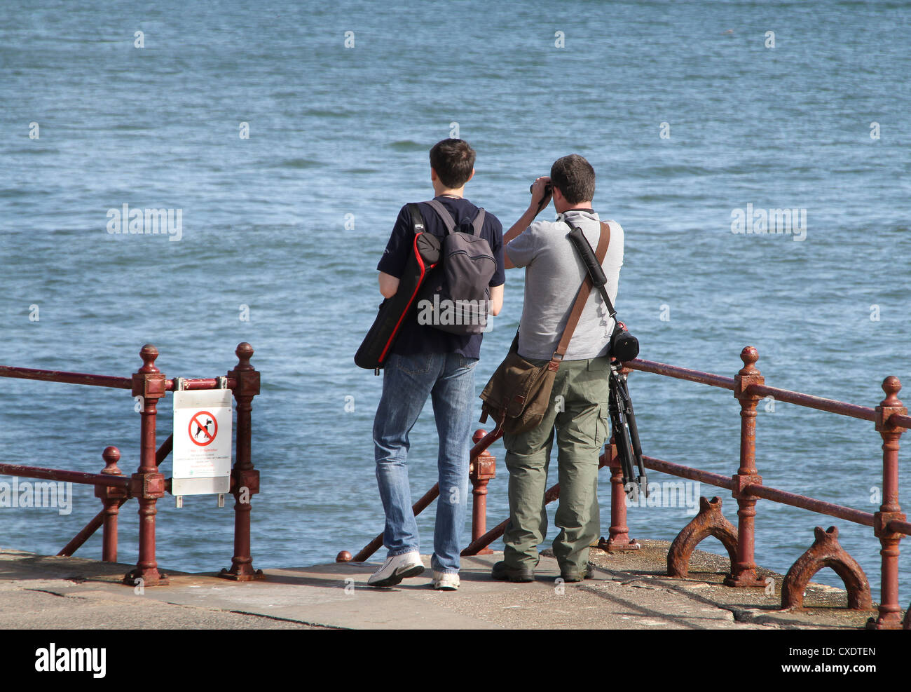 Two male bird watchers with equipment. - Stock Image