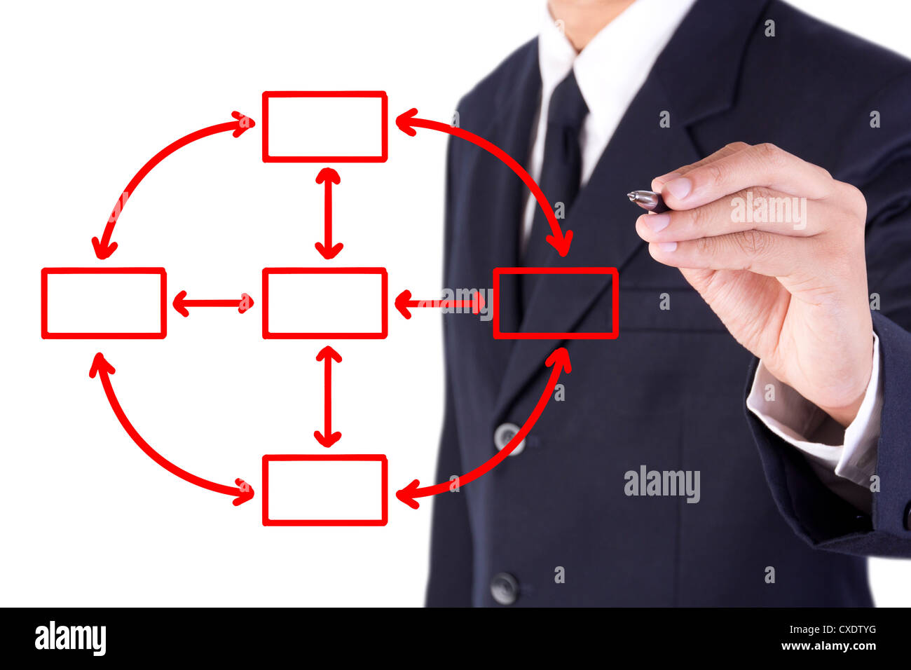 Businessman Drawing Flow Chart Circle Stock Photo 50706756 Alamy