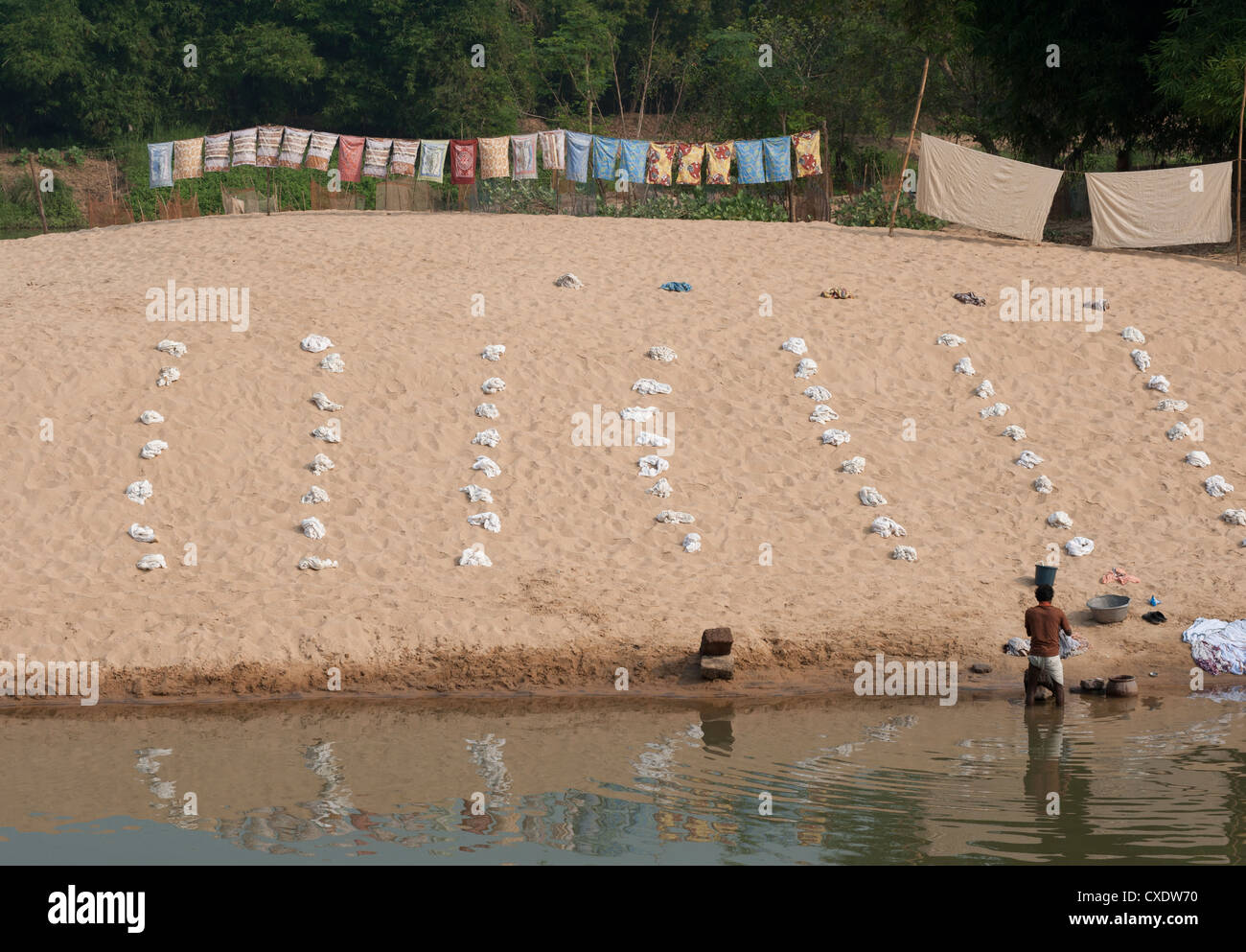 Dhobi wallah washing laundry in the river with very organised piles of white washing laid out on the sand, Raghurajpur, - Stock Image