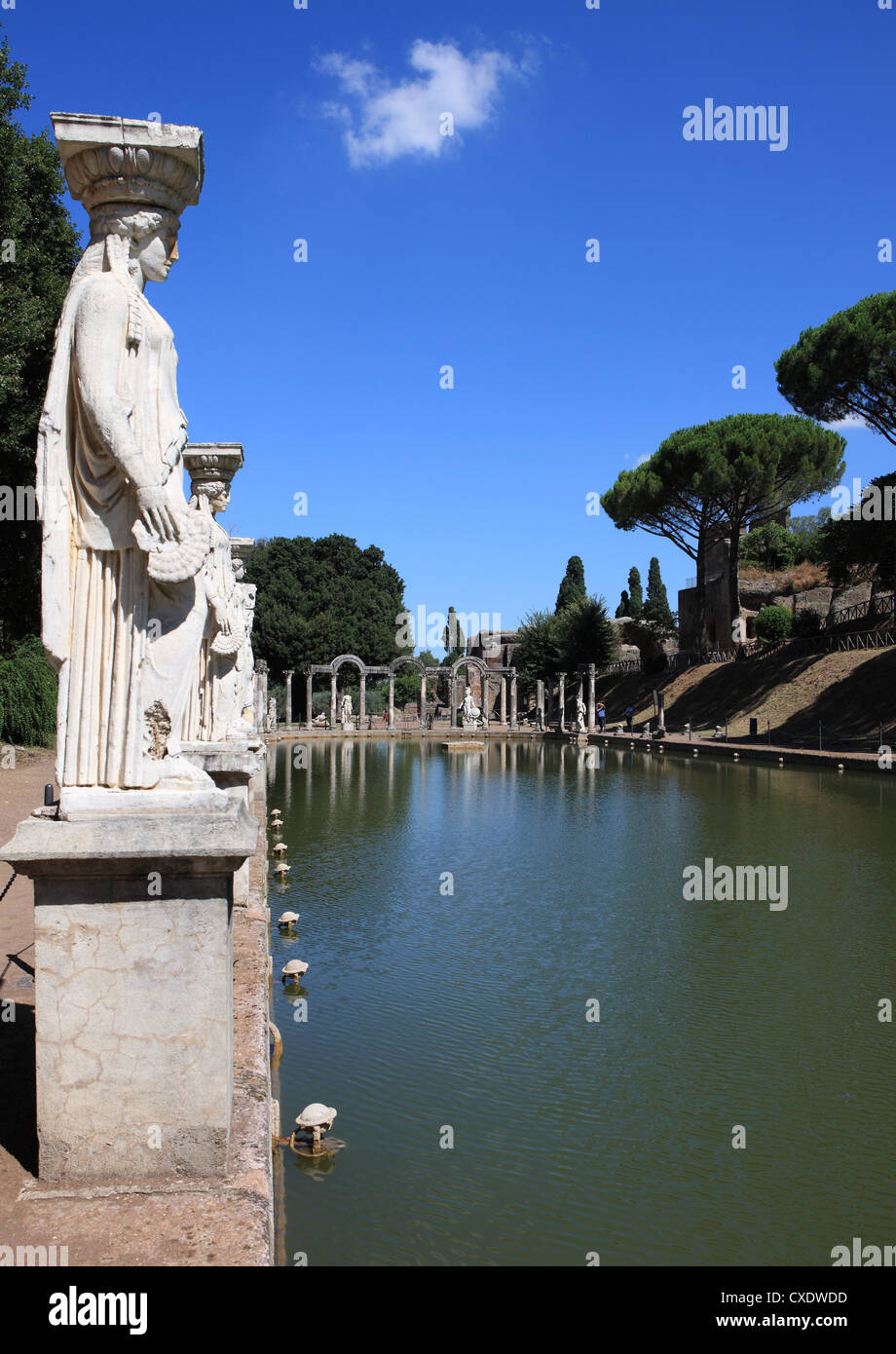 Hadrian's Villa, Canopus Canal, UNESCO World Heritage Site, Tivoli, Rome, Lazio, Italy, Europe - Stock Image