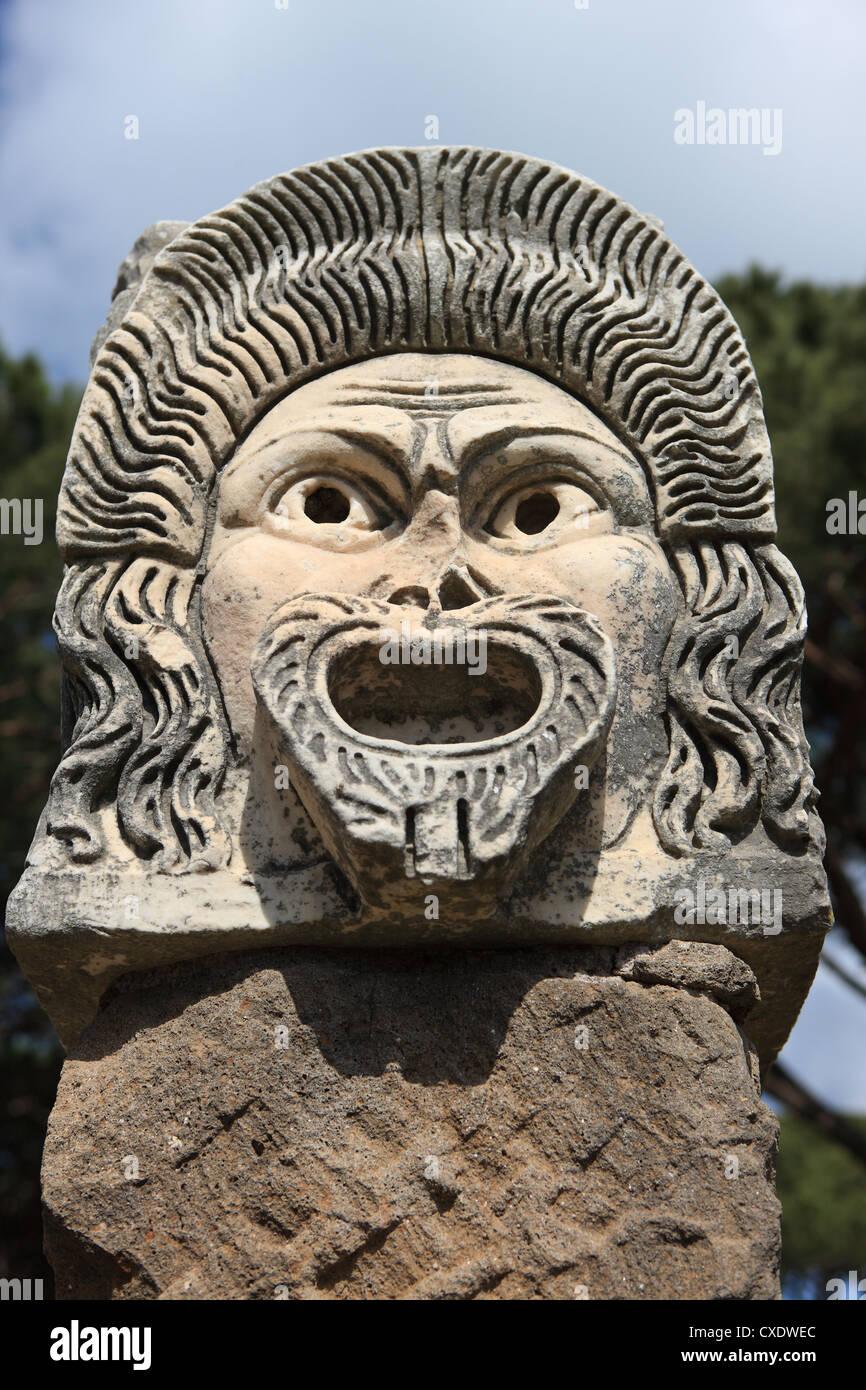 Ornate theatre mask, Ostia Antica, Rome, Lazio, Italy, Europe - Stock Image