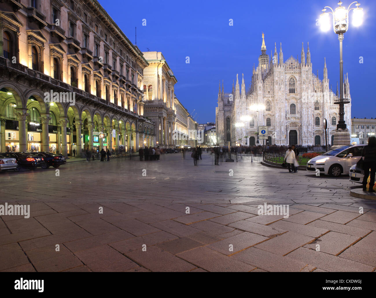 Piazza Duomo at dusk, Milan, Lombardy, Italy, Europe - Stock Image