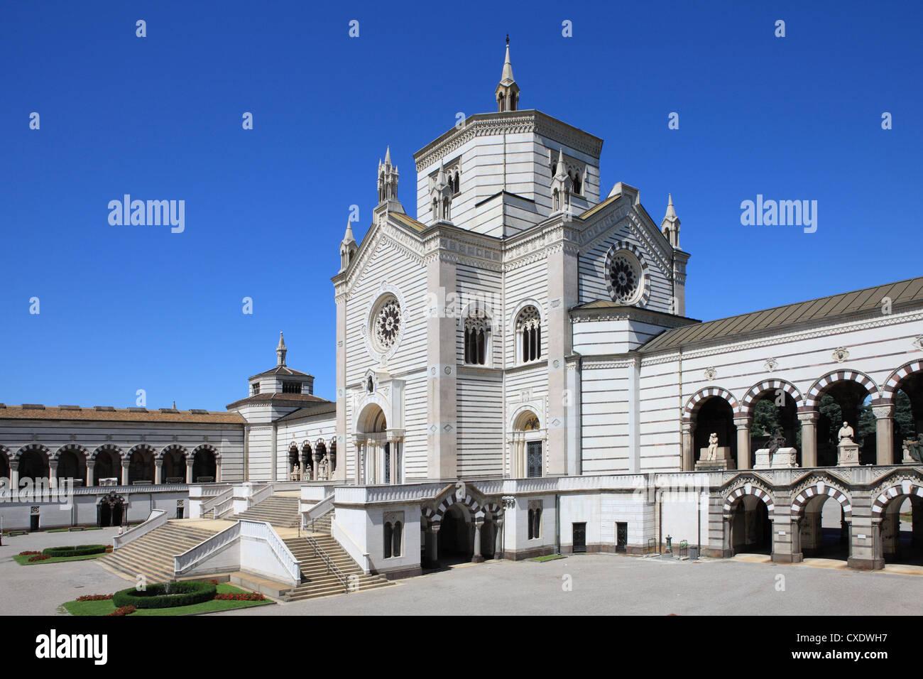 Monumental Cemetery by Architect Carlo Maciachini, Milan, Lombardy, Italy, Europe - Stock Image