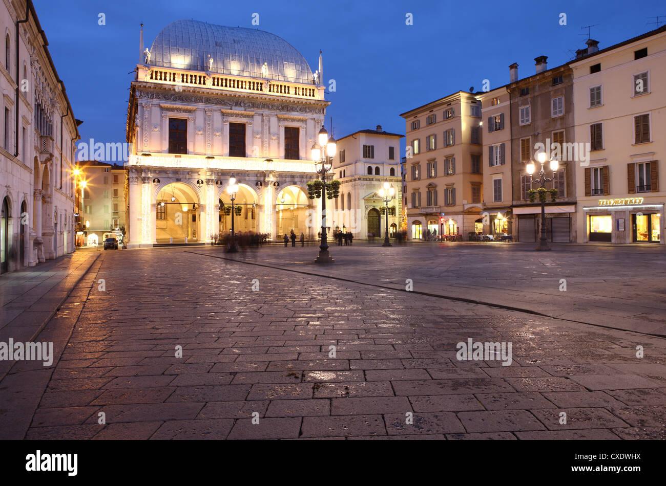 Piazza della Loggia at dusk, Brescia, Lombardy, Italy, Europe - Stock Image