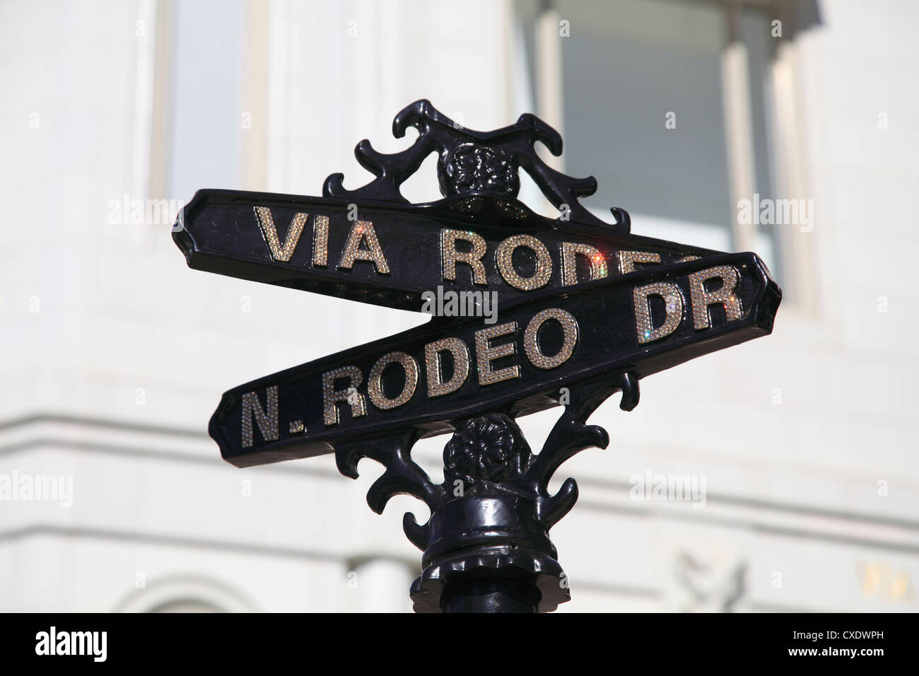 Street sign, Rodeo Drive, Beverly Hills, Los Angeles, California, USA - Stock Image