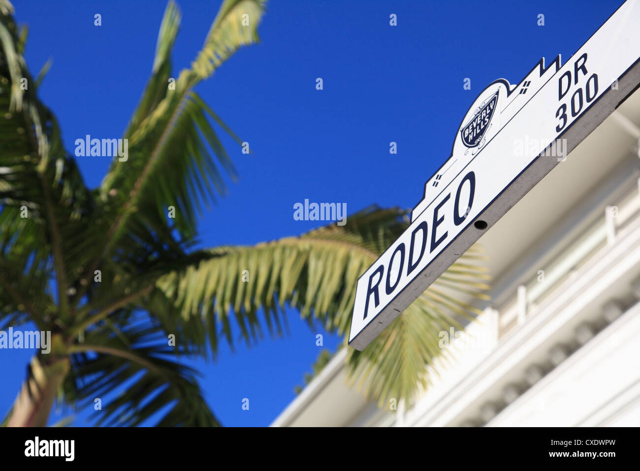 Road sign, Rodeo Drive, Beverly Hills, Los Angeles, California, USA - Stock Image