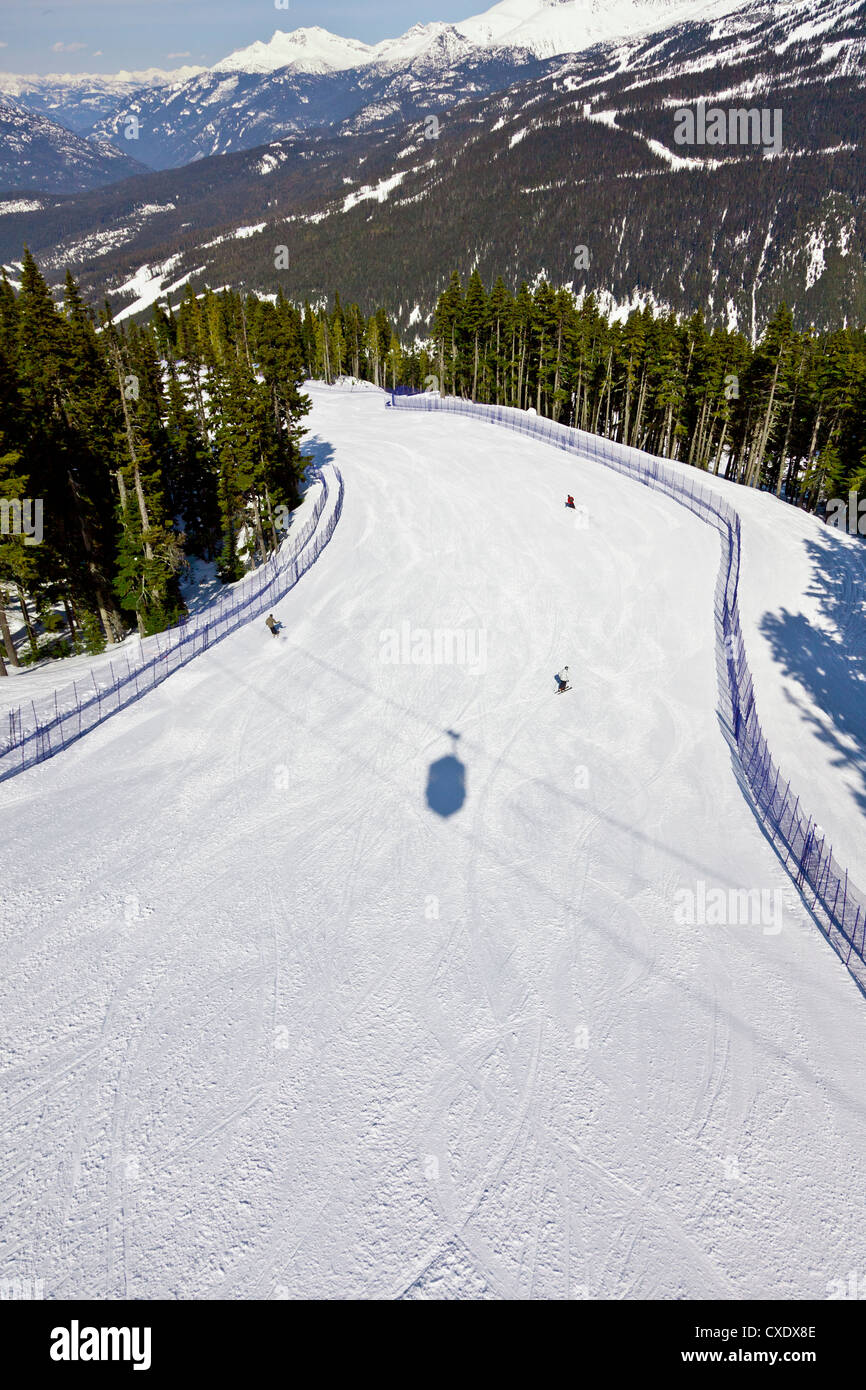 Aerial view of ski run, Whistler mountain, Whistler Blackcomb Ski Resort, Whistler, British Columbia, Canada, North - Stock Image
