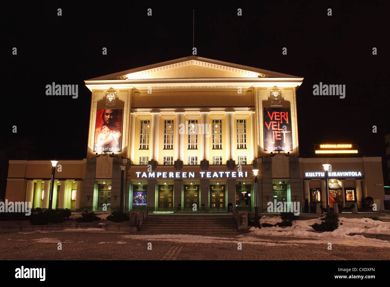 Facade of Tampere's Theatre (Tampereen Teatteri) on the Central Square (Keskustori), at night, in Tampere, Pirkanmaa, - Stock Image