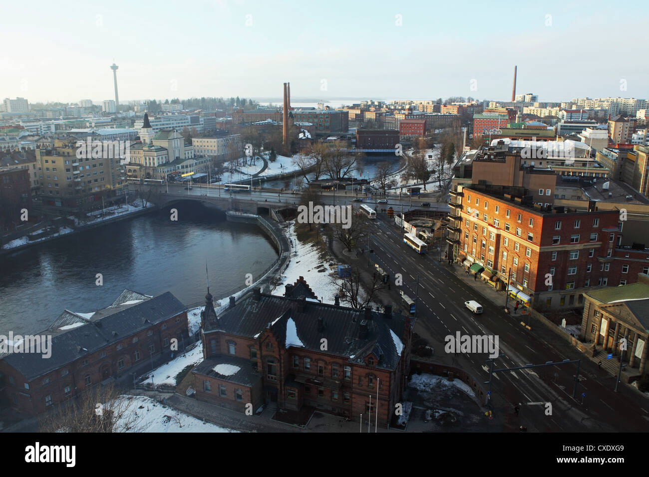 River Tammerkoski runs through the city centre, past the Finlayson Complex, central Tampere, Pirkanmaa, Finland, - Stock Image