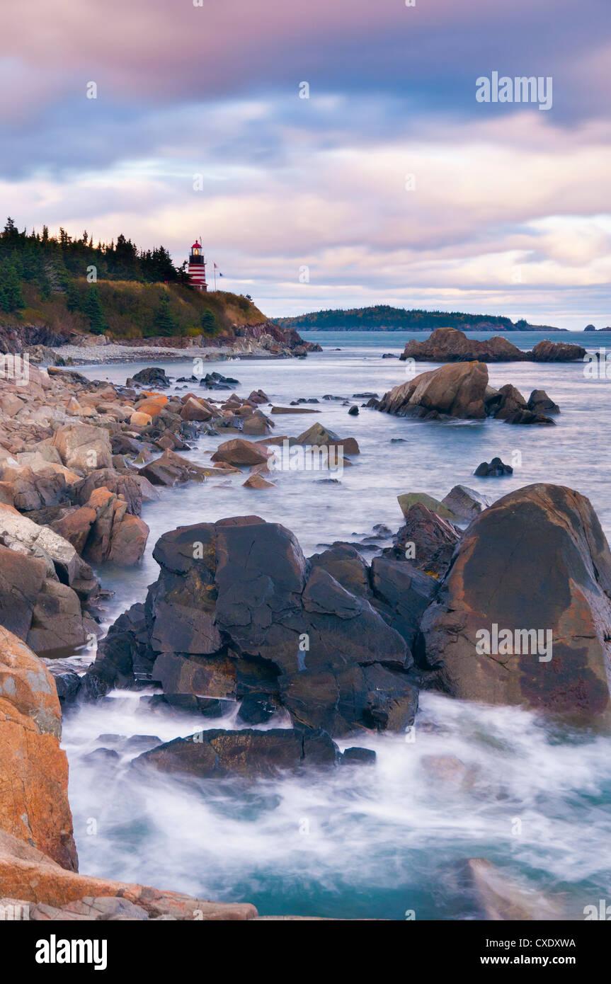 West Quoddy Lighthouse, Lubec, Maine, New England, United States of America, North America - Stock Image