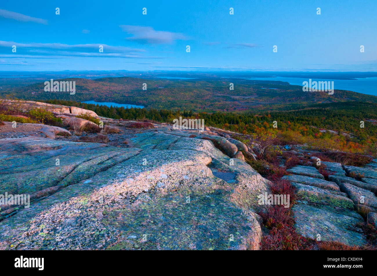 View from Cadillac Mountain, Acadia National Park, Mount Desert Island, Maine, New England, United States of America - Stock Image
