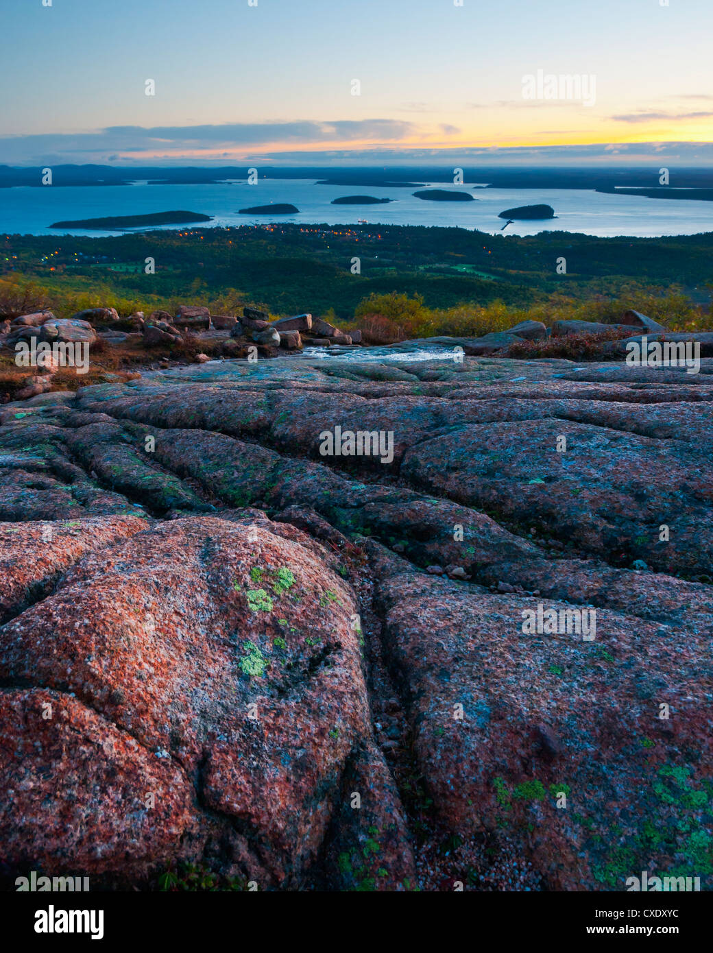View from Cadillac Mountain, Acadia National Park, Mount Desert Island, Maine, New England, United States of America Stock Photo