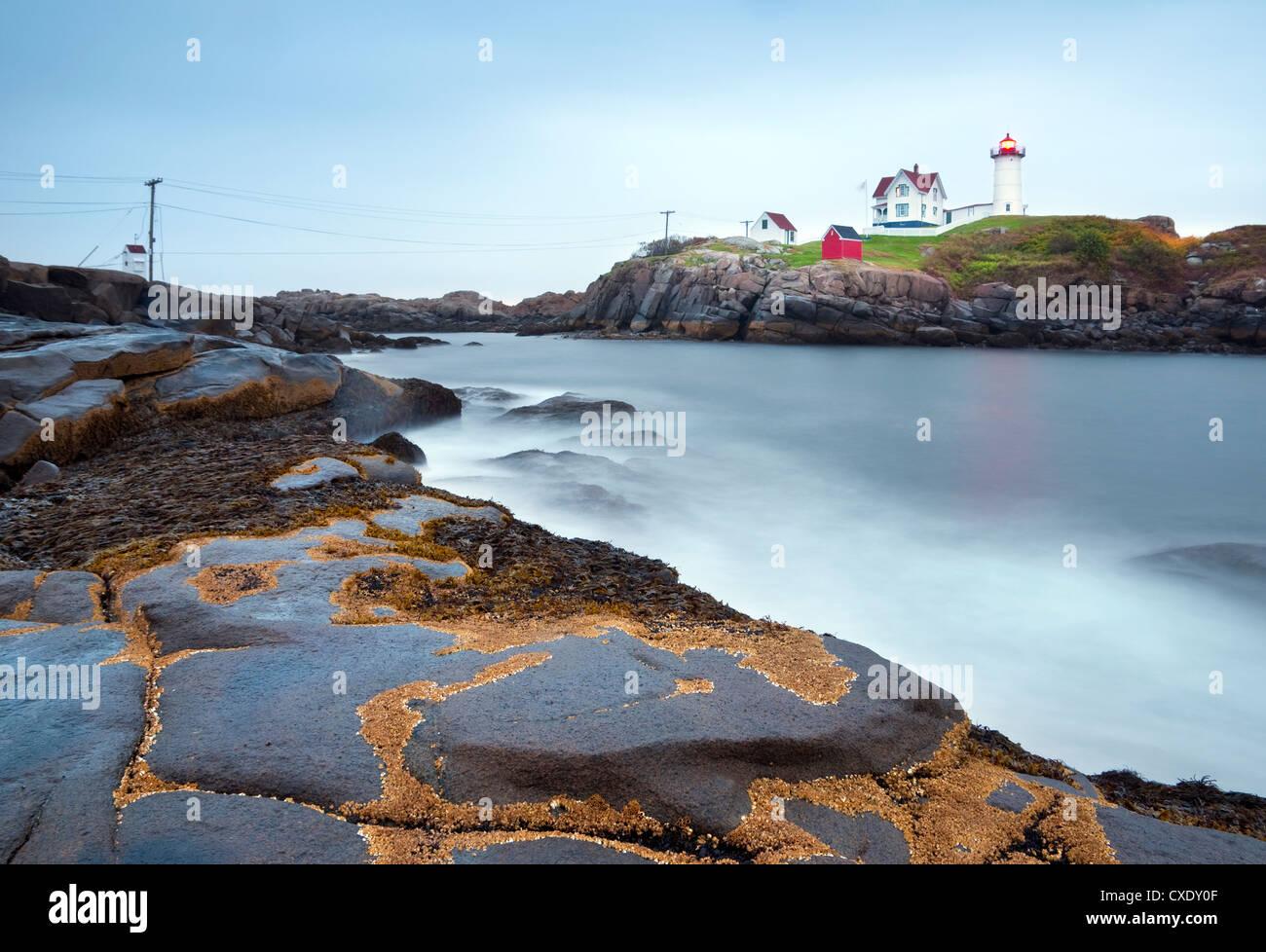 Cape Neddick (The Nubble) Lighthouse, Cape Neddick, Maine, New England, United States of America, North America - Stock Image