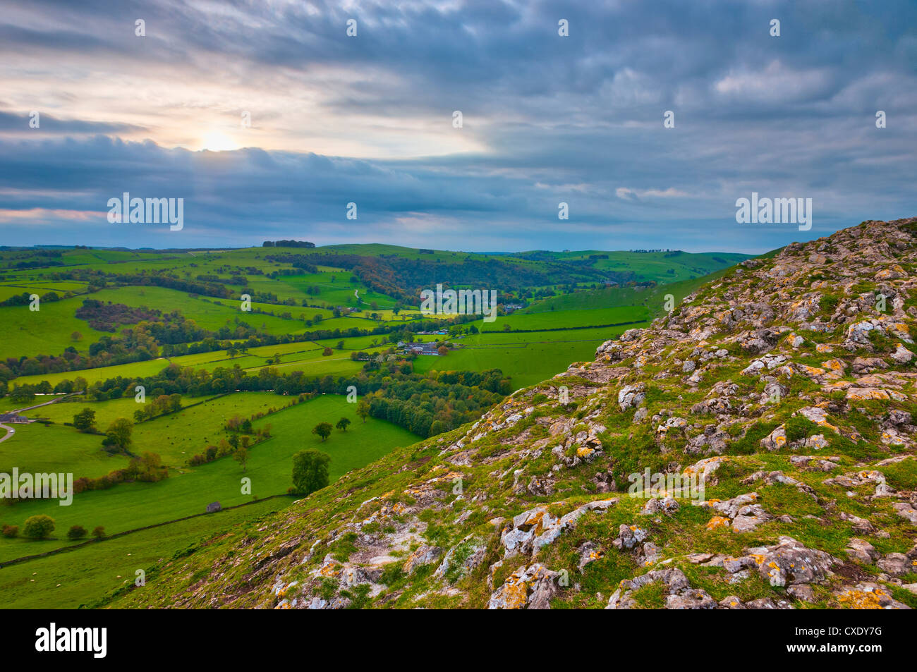 River Manifold Valley near Ilam from Thorpe Cloud, Peak District National Park, Derbyshire, England, UK Stock Photo