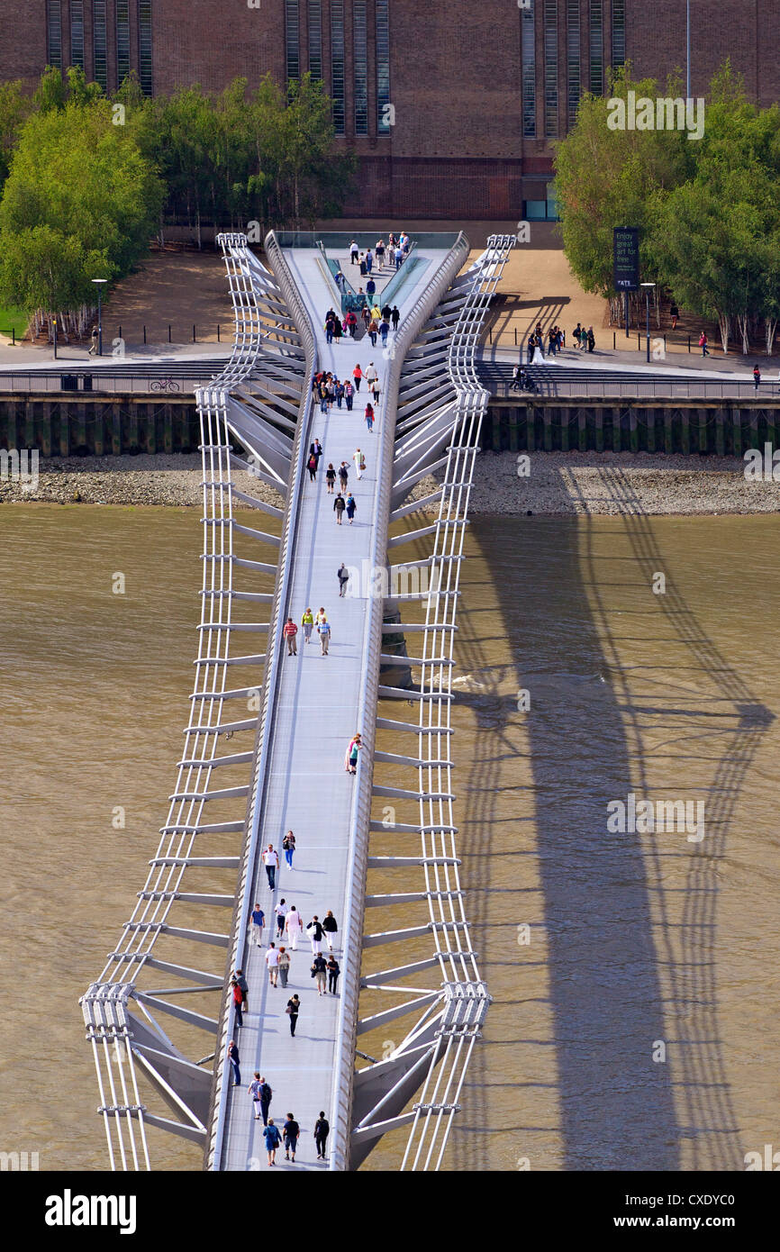 Aerial view of Tate Modern and Millennium Bridge, Bankside, taken from the Golden Galler of St. Paul's Cathedral, - Stock Image