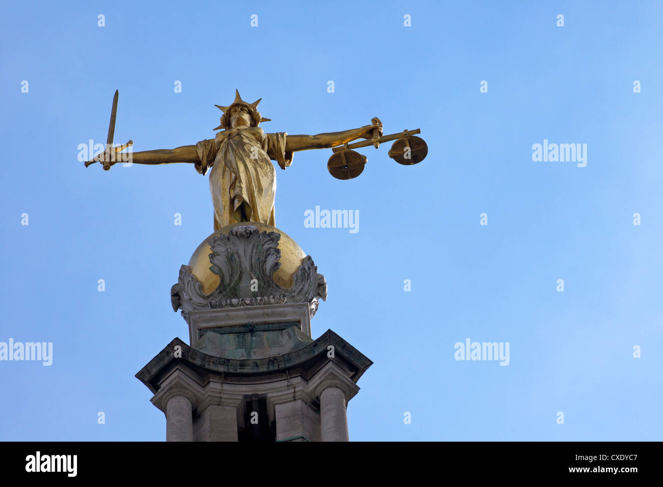 Statue of Lady Justice with sword, scales and blindfold, Old Bailey, Central Criminal Court, London, England, United - Stock Image