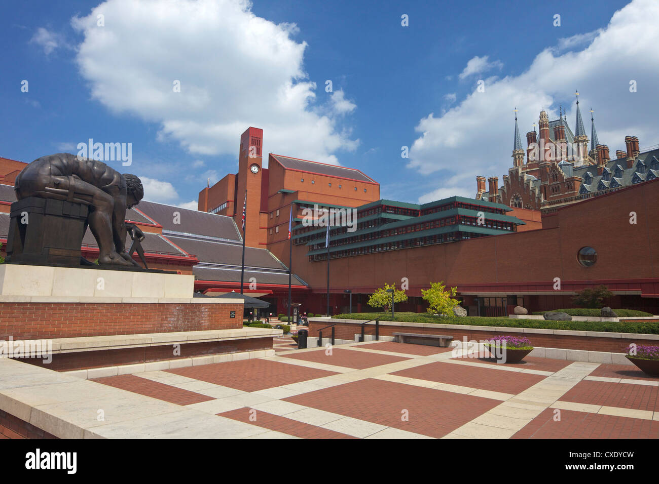 British Library Courtyard with statue of Isaac Newton, with St. Pancras Railway Station behind, Euston Road, London, Stock Photo