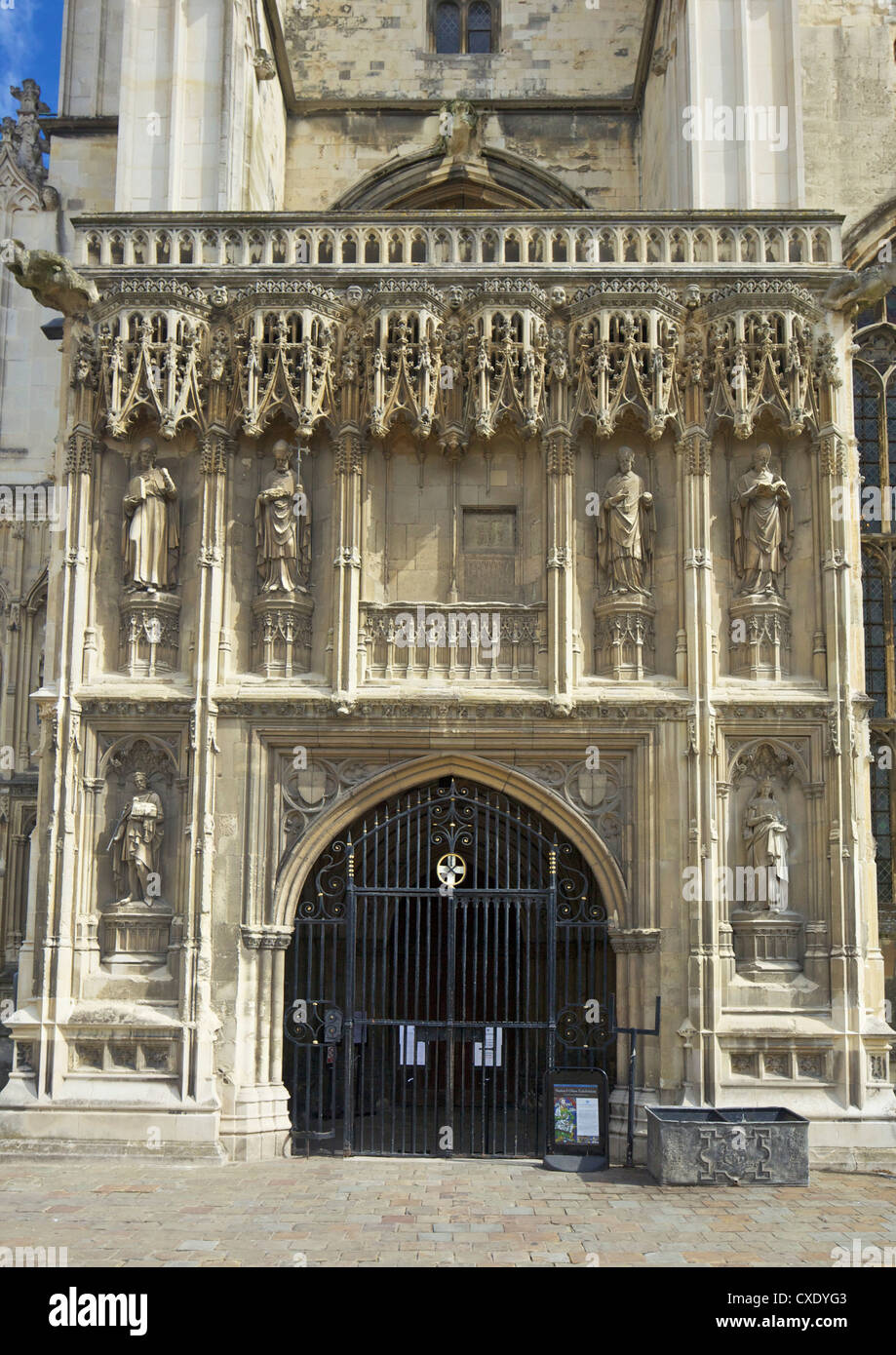 Gothic southwest porch, built in the 15th century by Thomas Mapilton and Richard Beke, Canterbury Cathedral, Canterbury, - Stock Image