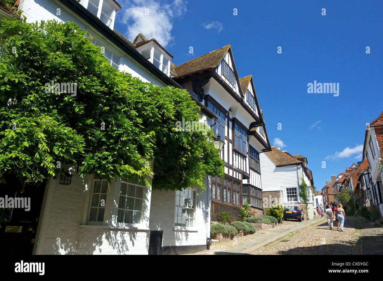 Mermaid Street in summer sunshine, Rye, East Sussex, England, United Kingdom, Europe - Stock Image