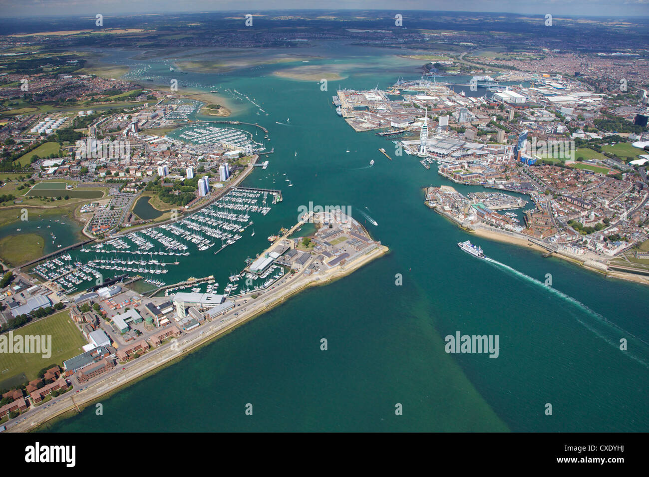 Aerial view of Portsmouth harbour and the Solent, Hampshire, England, United Kingdom, Europe - Stock Image