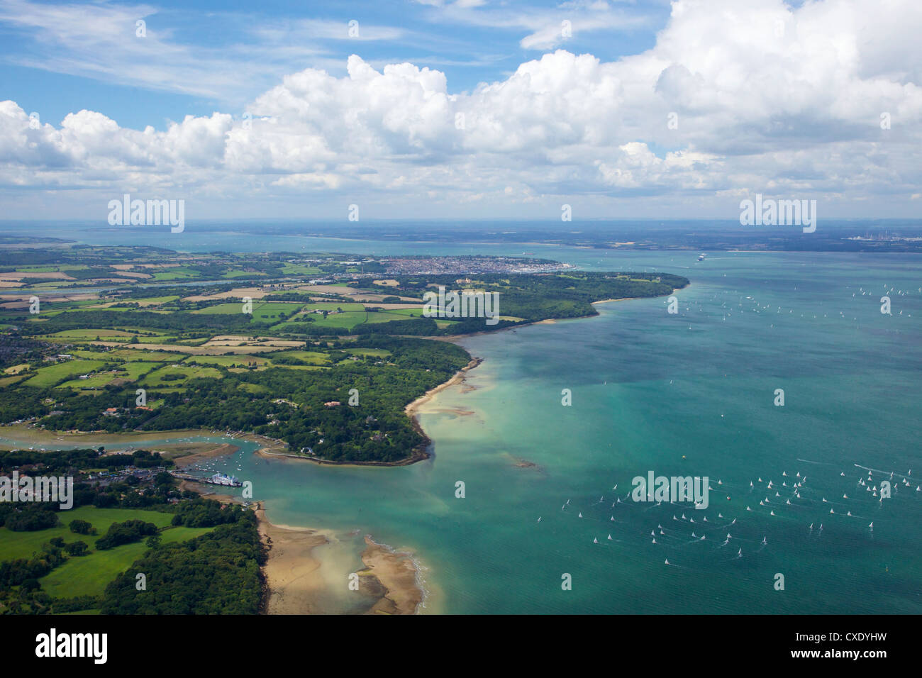 Aerial view of yachts racing in Cowes Week on the Solent, Isle of Wight, England, United Kingdom, Europe - Stock Image