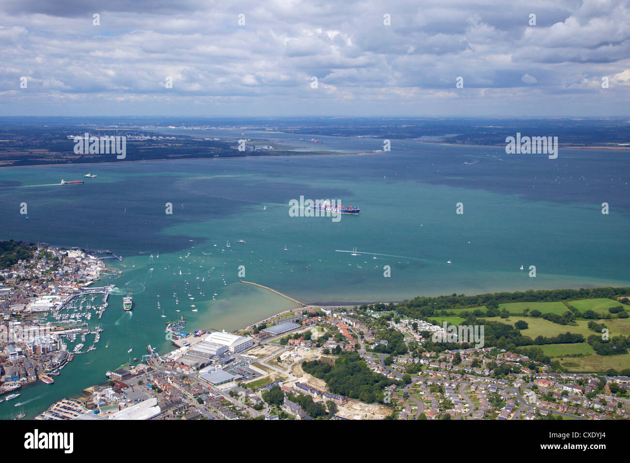 Aerial view of Cowes and the Solent, Isle of Wight, England, United Kingdom, Europe - Stock Image