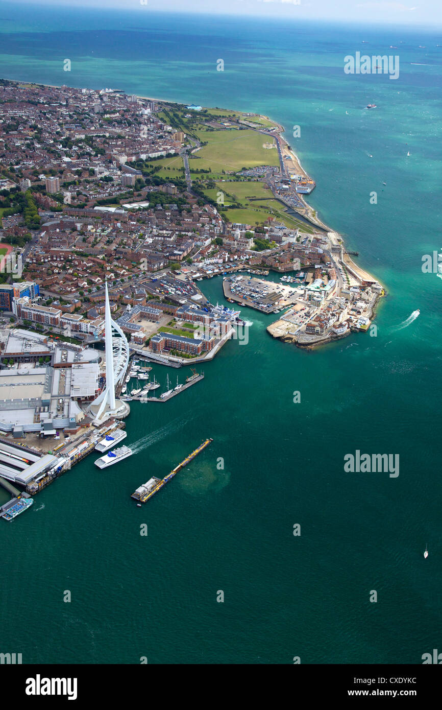 Aerial view of the Spinnaker Tower and Gunwharf Quays, Portsmouth, Solent, Hampshire, England, United Kingdom, Europe - Stock Image