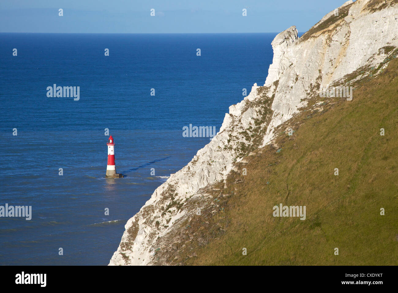 Beachy Head Lighthouse and chalk headland, south coast, near Eastbourne, South Downs National Park, East Sussex, - Stock Image