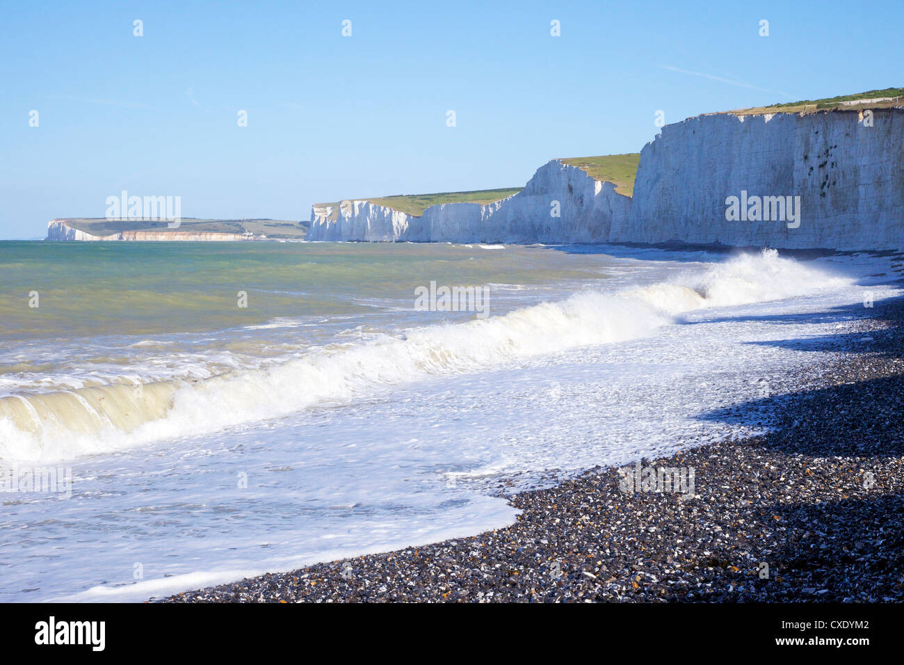 Birling Gap and chalk cliffs of the Seven Sisters, East Sussex, South Downs National Park, England, United Kingdom, - Stock Image