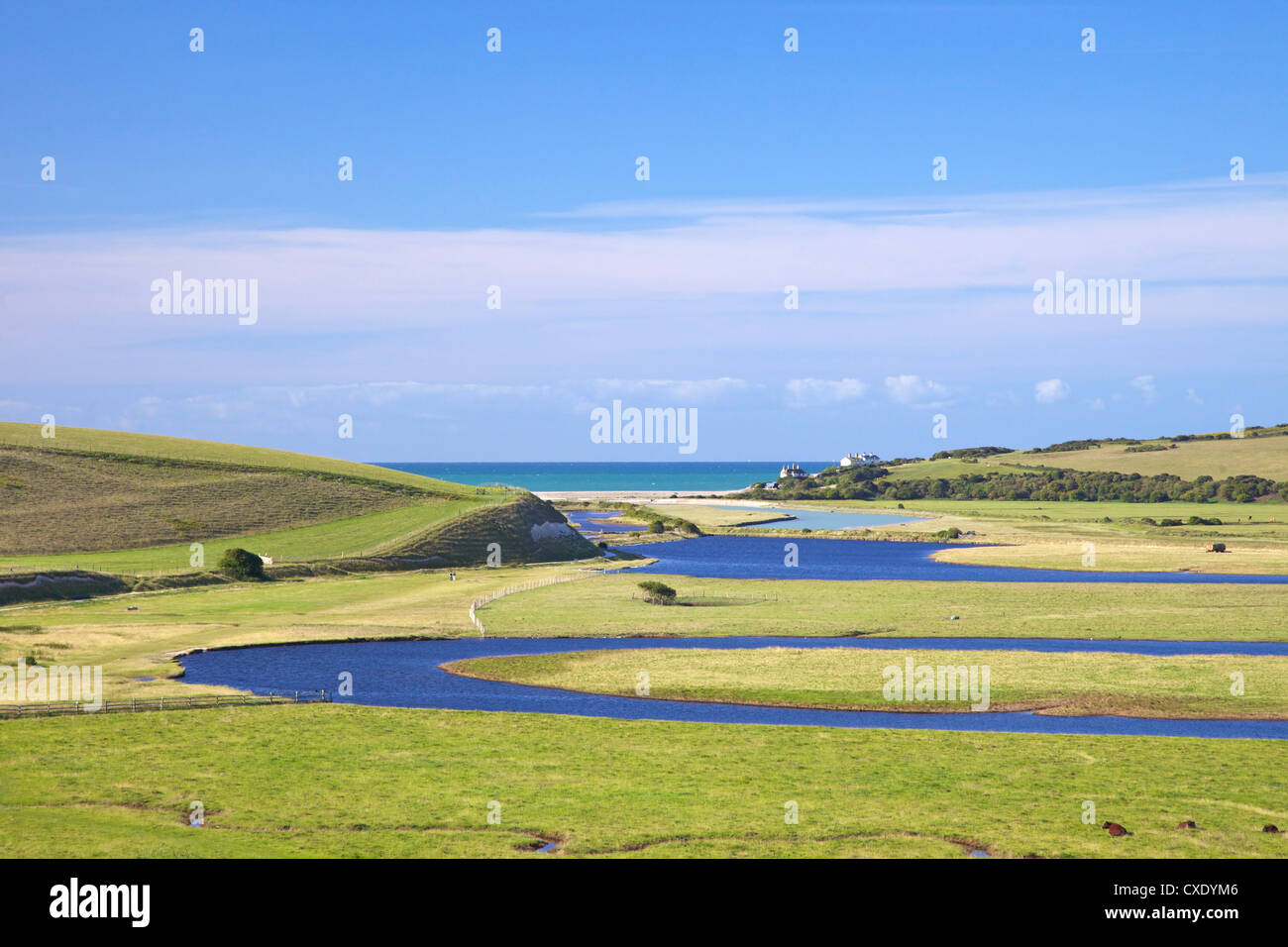 River Cuckmere meets the English Channel at Cuckmere Haven, East Sussex, South Downs National Park, England, United - Stock Image