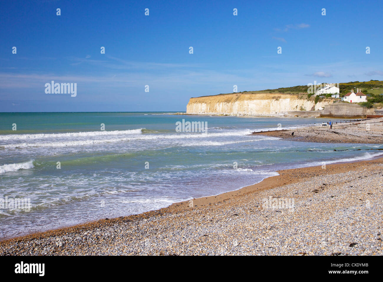 Beach at Cuckmere Haven, East Sussex, South Downs National Park, England, United Kingdom, Europe - Stock Image