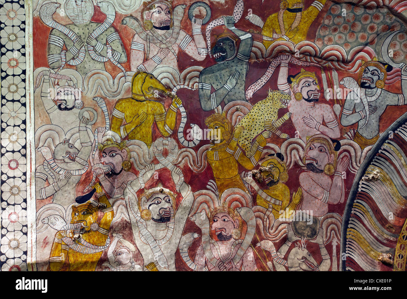 Roof murals, Dambulla Cave Temple, UNESCO, World Heritage Site, Sri Lanka, Asia - Stock Image
