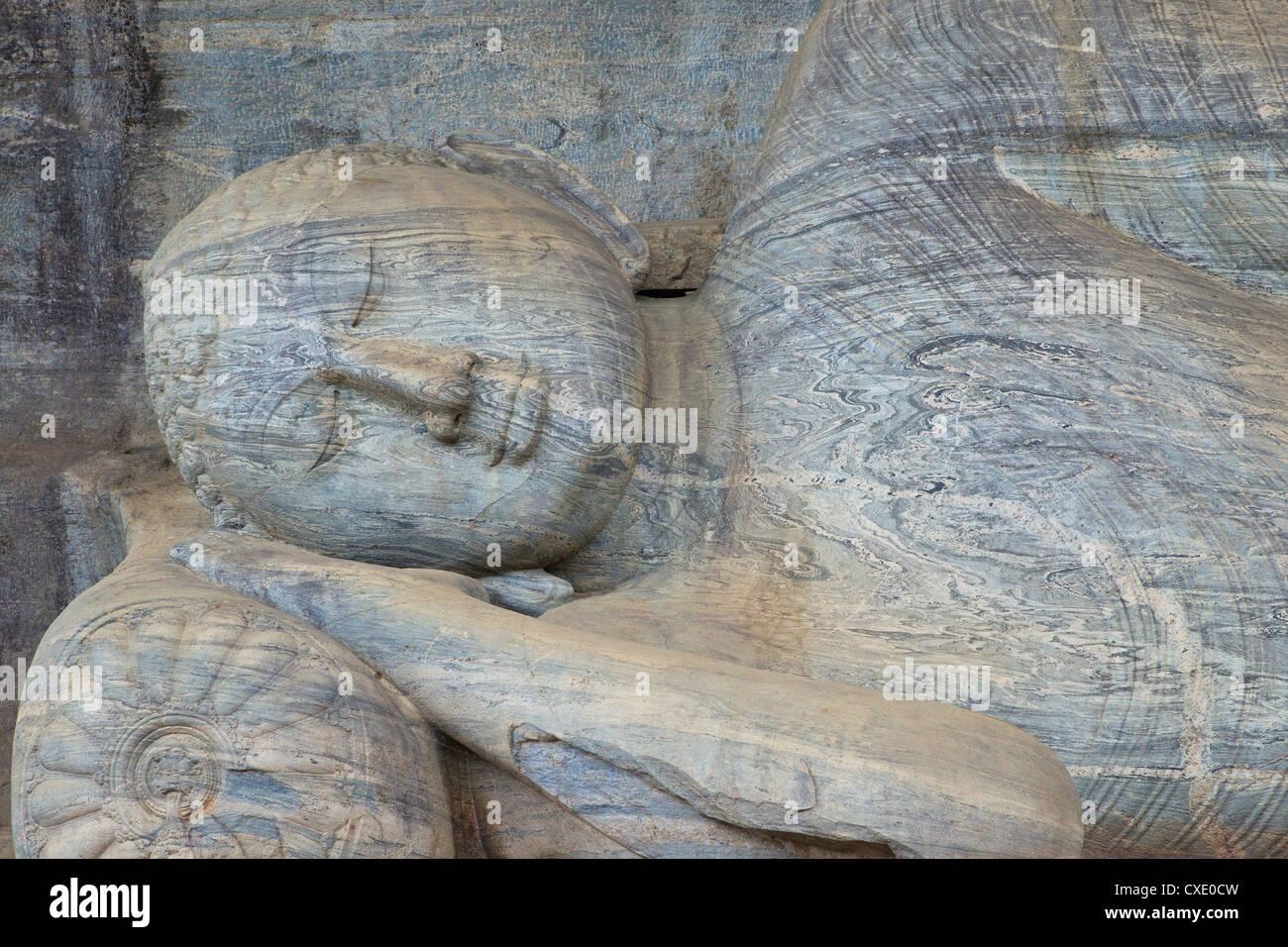 Reclining Buddha in Nirvana, Gal Vihara Rock Temple, Polonnaruwa, Sri Lanka, Asia Stock Photo