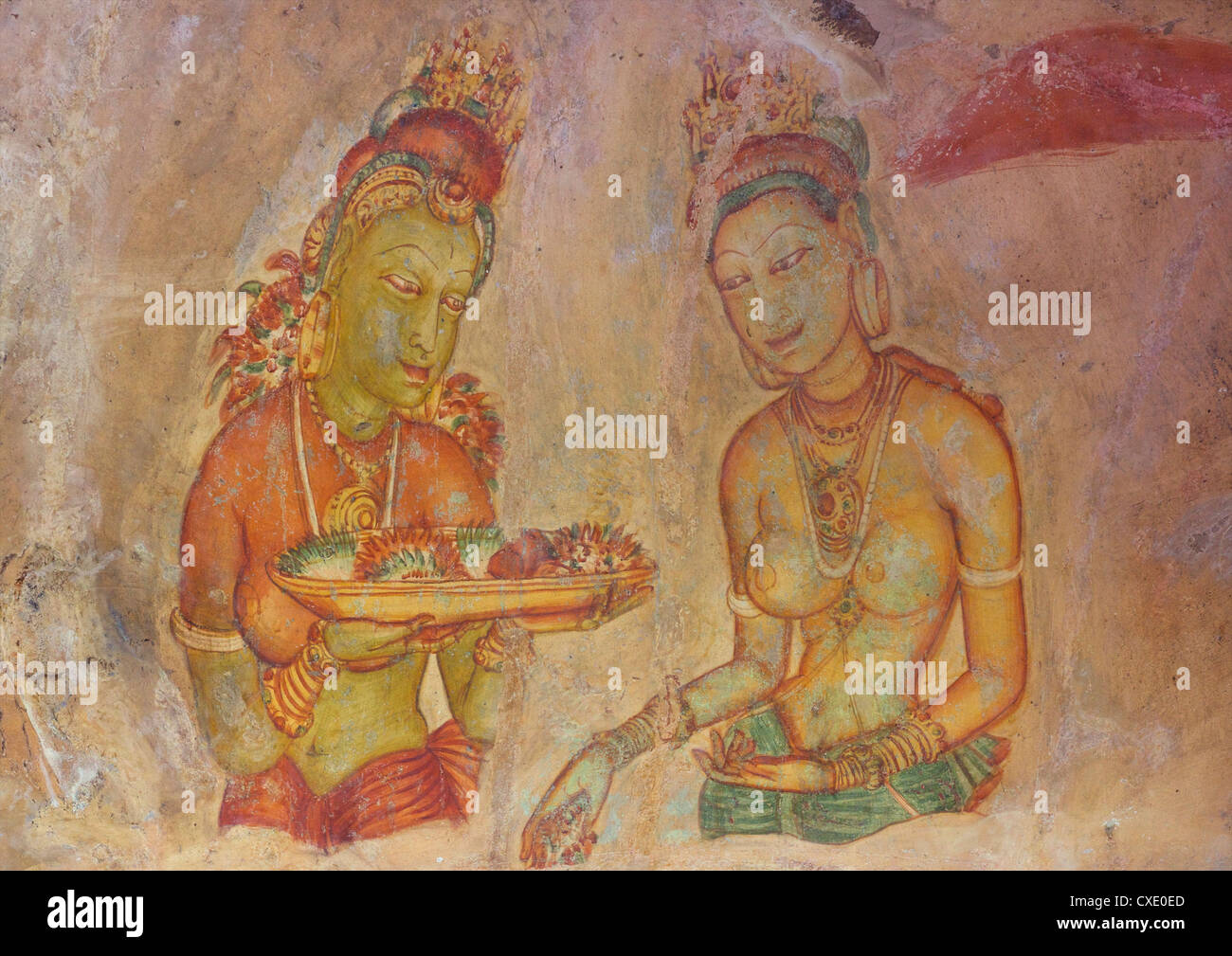 Sigiriya Damsels or Cloud Maidens, 5th century AD,  frescoes, Sigiriya Lion Rock Fortress, Sigiriya, Sri Lanka, - Stock Image