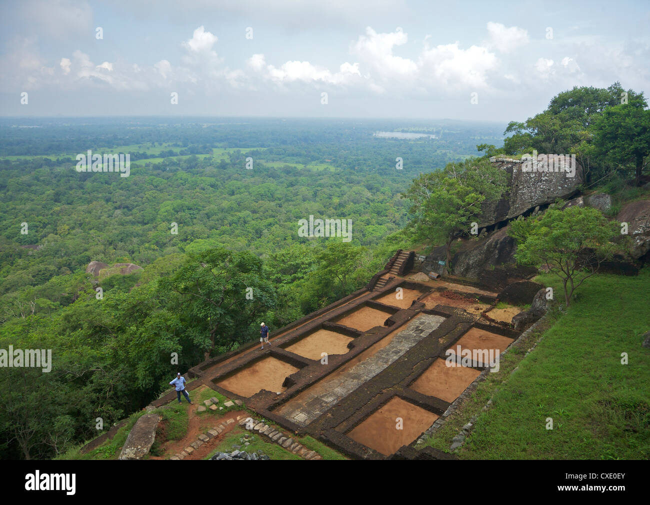 View from summit of Sigiriya Lion Rock Fortress,  5th century AD, UNESCO World Heritage Site,  Sigiriya, Sri Lanka, - Stock Image