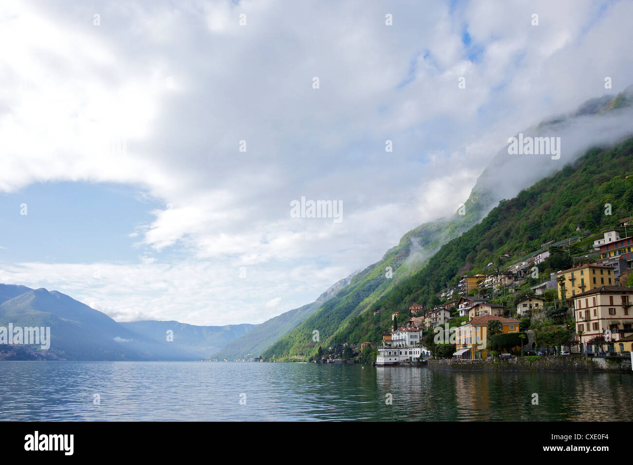 Early morning light on Brienno, Lake Como, Lombardy, Italian Lakes, Italy, Europe - Stock Image
